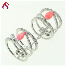 Trending Hot Products Fashion Double Finger Ring 925 sterling silver cr.opal RG81181-5