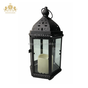 Black antique metal candle lantern holder with LED Flameless Pillar inside
