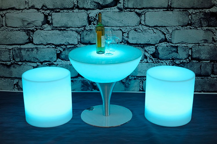 Color Changeable Plastic Led Cylinder Stool