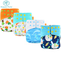Unisex one size washable baby cloth pocket diaper nappies with adjustable snap