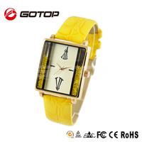 Yellow diamond classic square watch face quartz unique watches