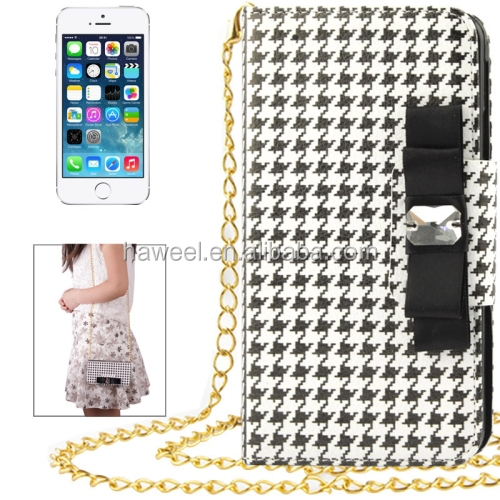 Plaid Pattern Crystal Bowknot Button Flip Leather Case with Card Slots & Lanyards for iPhone 5 & for 5S