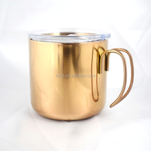 2018 hot sale stainless steel coffee mug with clear lid, double wall rose gold color coffee cup with hook handle