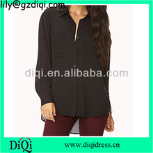 ladies long sleeve trendy korean fashion crepe blouse