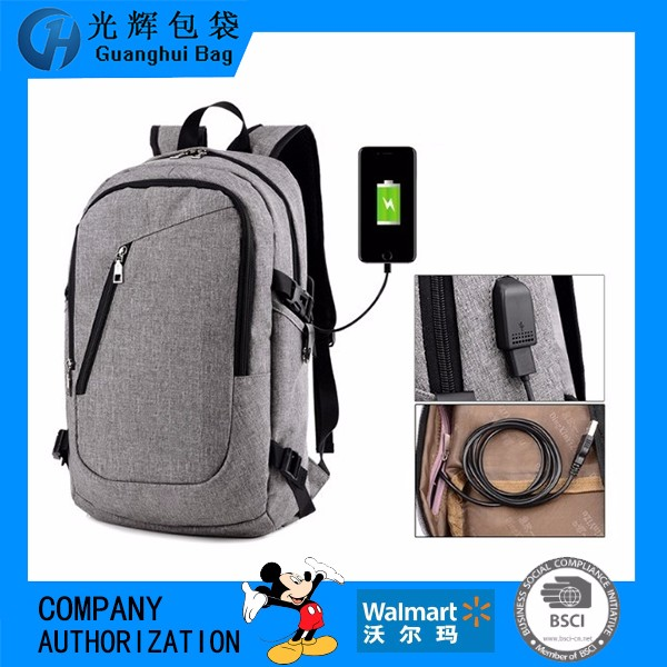USB charging power laptop backpack waterproof material teenager backpack