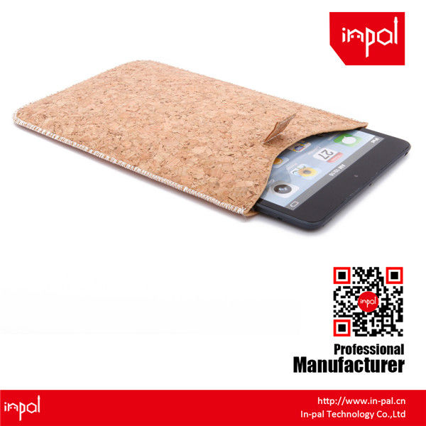 Premium hand-made real cork leather sleeve for ipad mini for natural lovers and custom design accepted