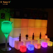 modern rotational moulding LED cube light /Low power consumption led lighting cube chairs/Battery powered led cube chair