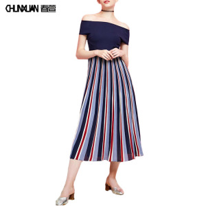 2018 newest girl's short sleeved off shoulder striped pleated dress #2018newestgirl'sshortsleevedshortsleevstripedpleateddress