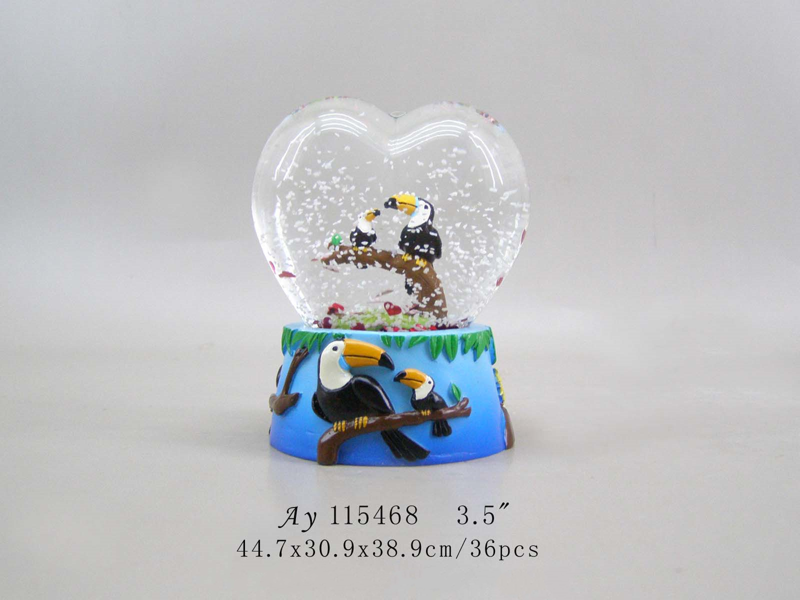 70MM Heart shape water snow globe of wedding gifts