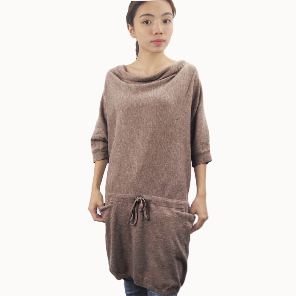 cambodia factory half sleeve casual knit wool dresses women