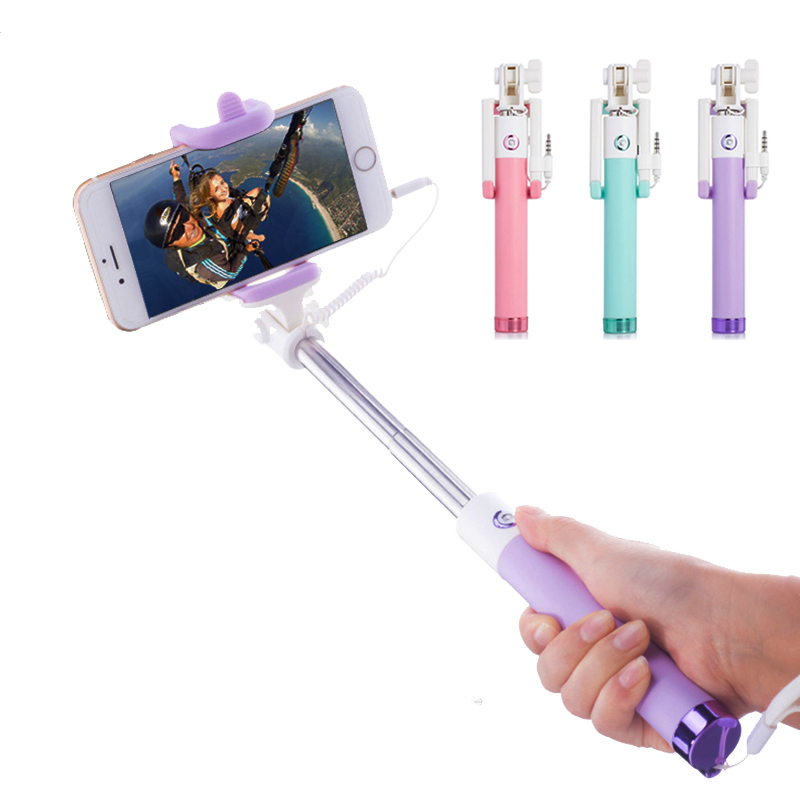 Selfie Stick With Button Wired Silicone Handle Monopod Universal bluetooth selfie stick
