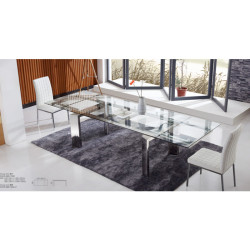 modern transparent square glass dining table and chairs set - T835