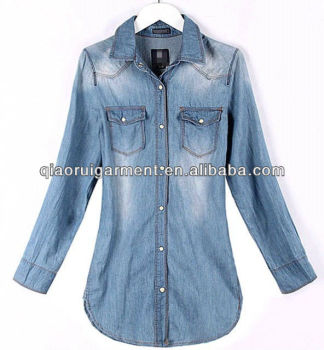 Exclusive design High quality washed casual Retro/denim long sleeve shirt for women/ladies