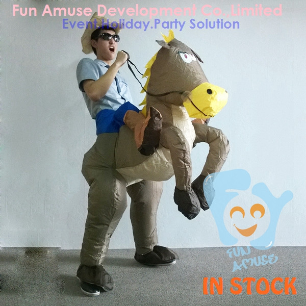 adult Halloween inflatable cowboy on horse costume