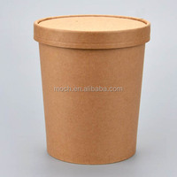 32oz Custom logo printed disposable kraft paper soup bowl