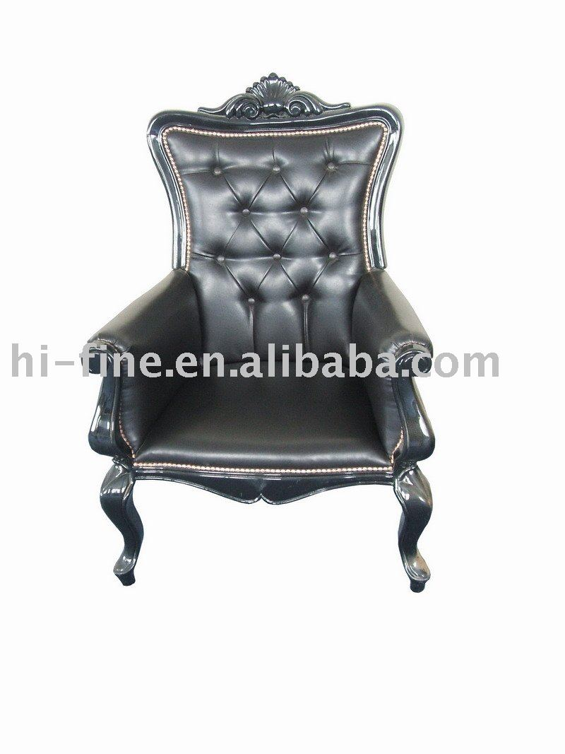 leisure wooden leather armchair