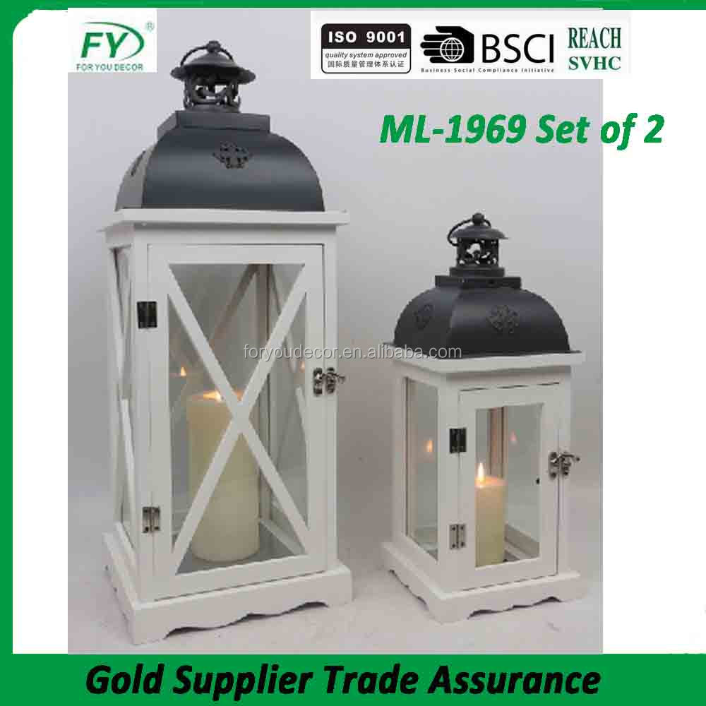 ML-1969 set of 2 gray color top and glass panles hot selling good quality popular decorative Wood candle lantern