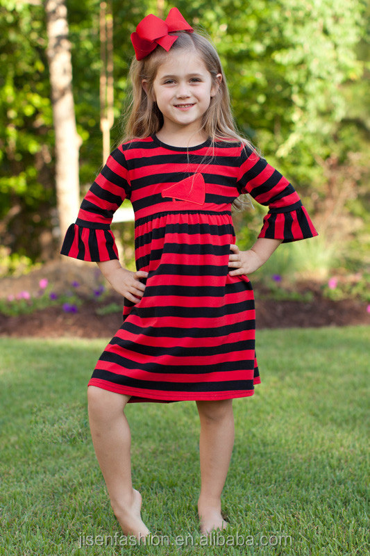 black and red megaphone appliqued bell sleeve children thanksgiving dress