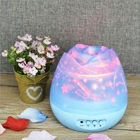 UCHOME New! Creative Moon and Star Projection Picture Manufacturer wholesale LED Night Lamp Rose Flower Bud Rotating Projection