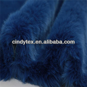 15mm sapphire blue plushed soft acrylic polyester imitation rabbit fake fur fabric