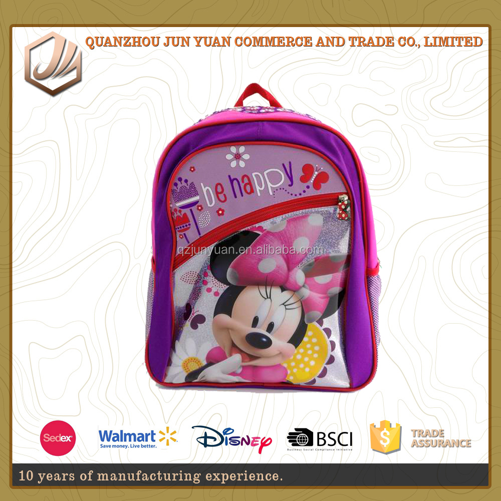Cute Minnie Images kids school rolling backpack with 600D