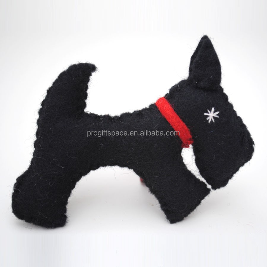 2017 fashion DIY hotsale cheap wholesale handmade polyester black pet dog patterns stuffed felt toys for kids alibaba website
