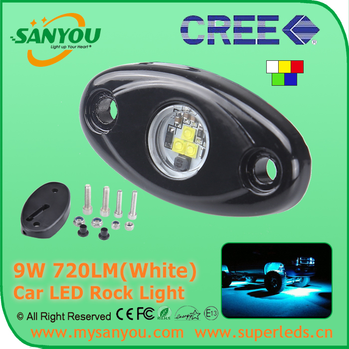"Sanyou 12V 2"" 9W RGB mini LED rock light offroad led rock lights Waterproof Off Road LED Rock Light"