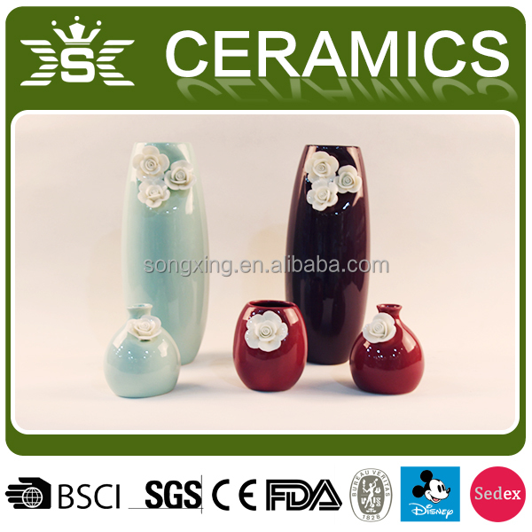 elegant ceramic 3d flower vase set for home decor