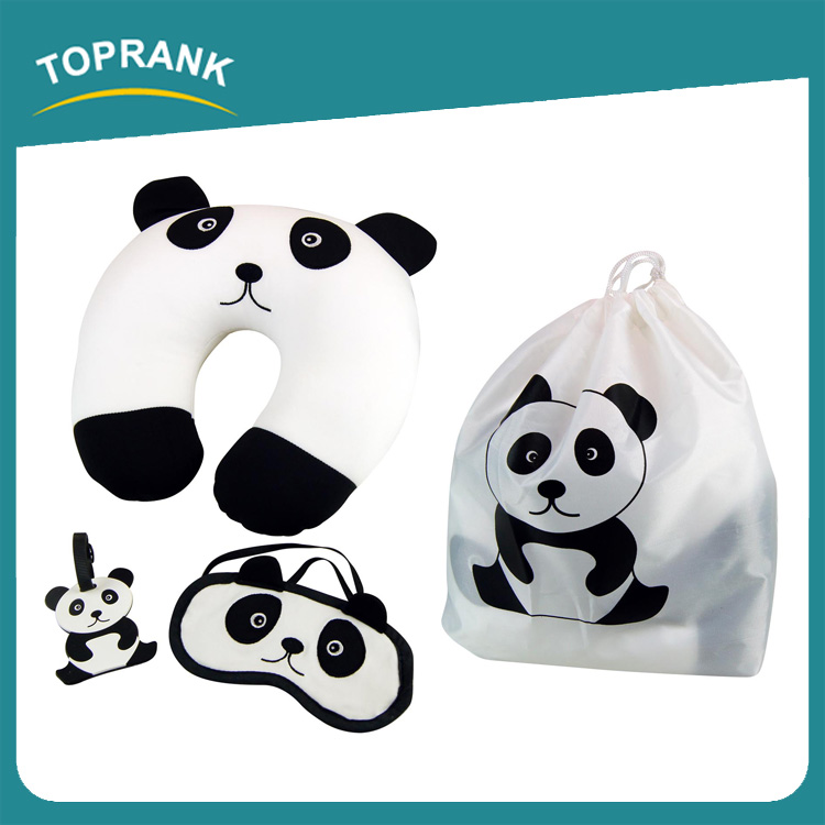 Toprank Microbead Neck Pillow Eyemask Luggage Tag 3 In 1 Travel Sleeping Comfort Kit Cute Cartoon Panda Travel Kit For Airline