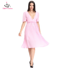 Ladies Yong Girls Sexy Deep V Neck Open Breast Half Sleeve Pleated Backless Pink Cocktail Dress