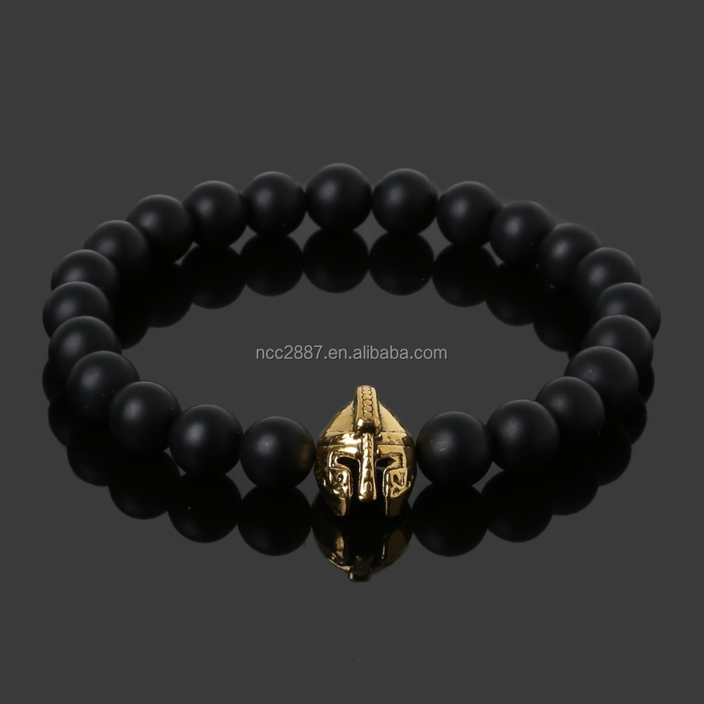 Gold Plated Roman Knight Spartan Warrior Gladiator Helmet Bracelet Men Black Matte Stone Bead Bracelets For Men Jewelry