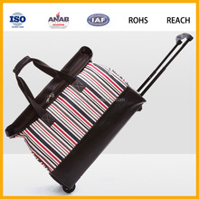 Women Fashion Stripe Trolley Luggage Bag Travelling Bag Sports Bags for Sale