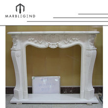 Antique flower carving marble fireplace mantle with iron heat
