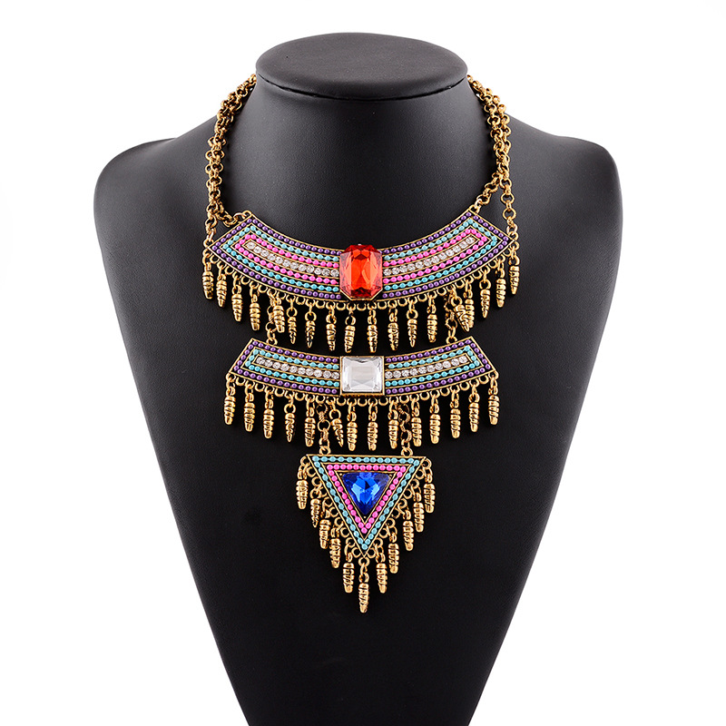 2016 Luxury Multicolor Bohemian Chunky Statement Necklace