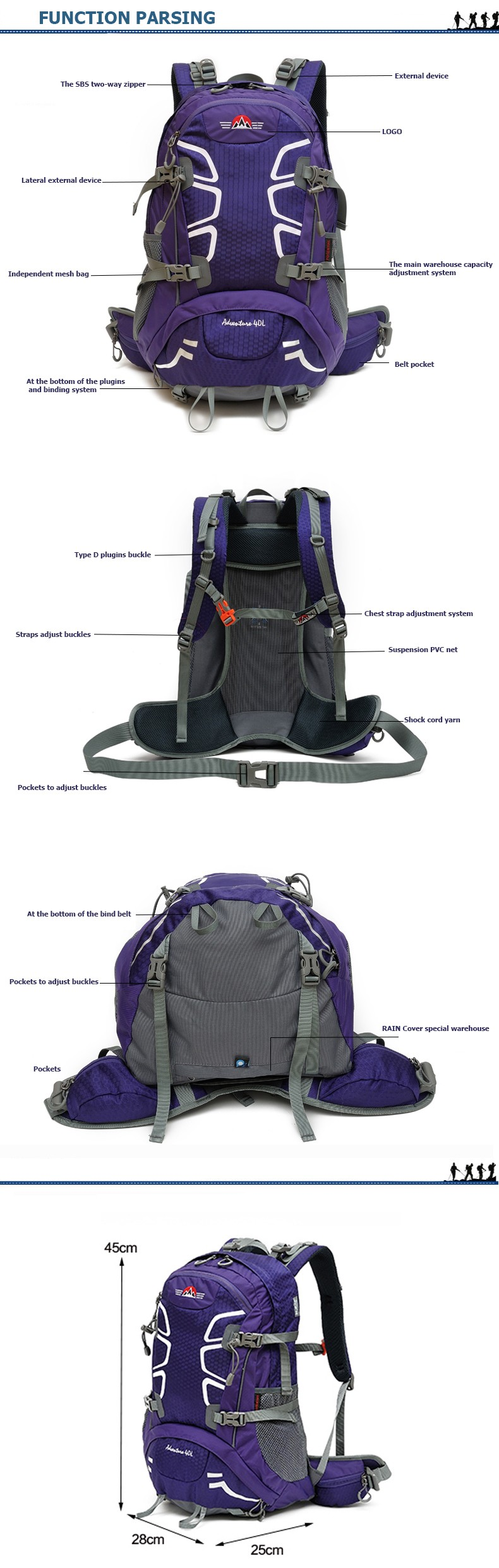 Wholesale Custom Tear Resistance Hiking Mountaineering Backpack With Frame