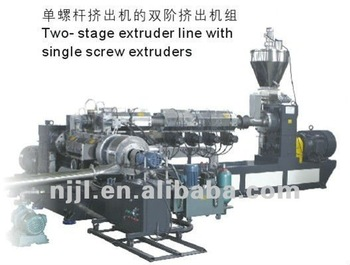 two stage extruder line with single screw extruder