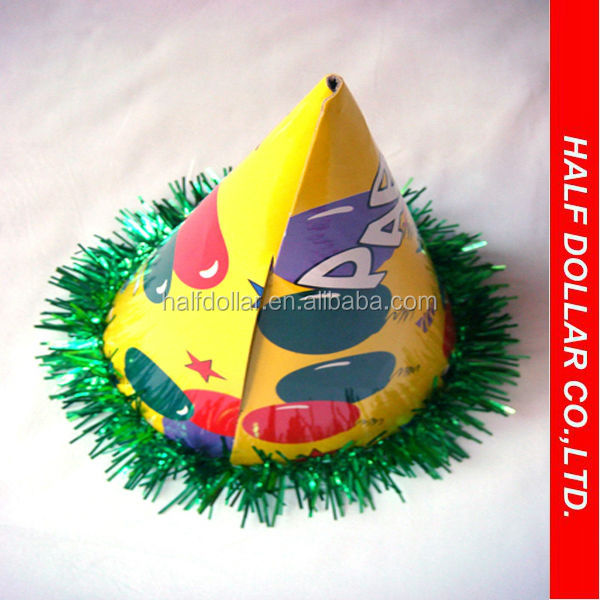 paper happy birthday party cap,cone hat for kids