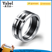 Wholesale 316l Stainless steel Two Tones Christian Ring Cross Shape Rings