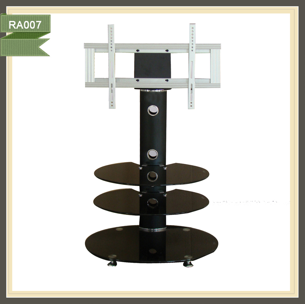 lcd tv cabinet design living room corner tv showcase black silk-screen tempered tv stand RA007
