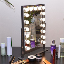 Beautiful design beauty station furniture small led make up mirror with light bulbs