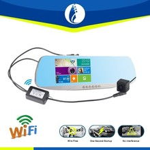 wireless car rearview mirror monitor GPS + 1080P DVR+Bluetooth+ WiFi Transmitter +Android (WIFI) +hands free