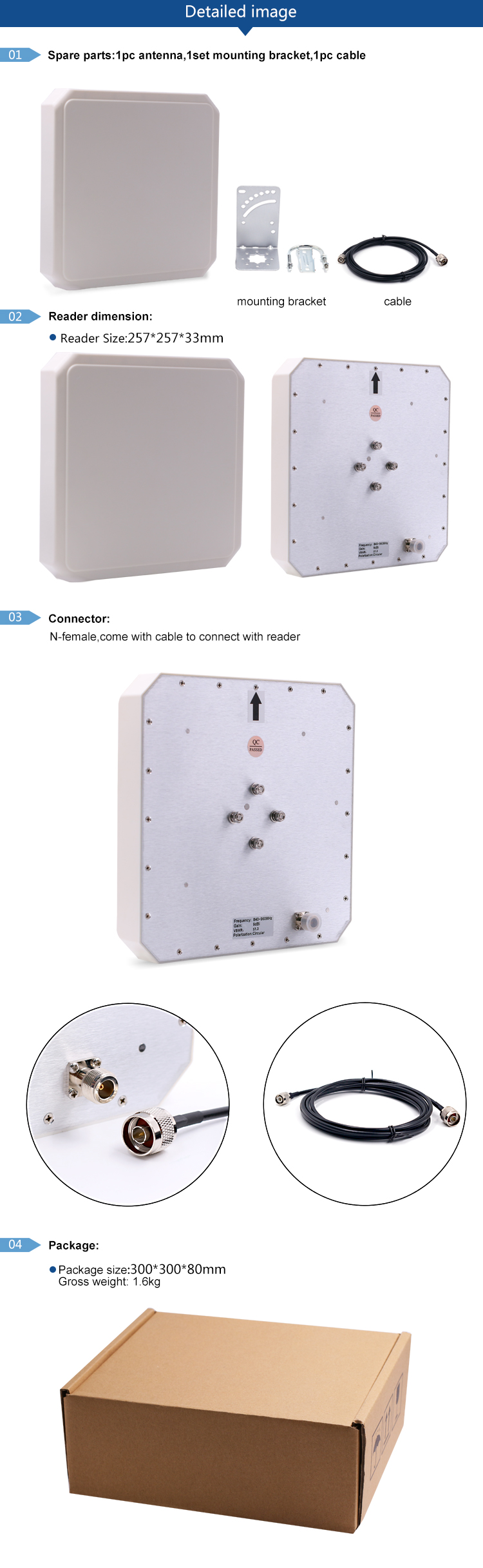 Access Control devices with feedback cable 915mhz uhf rfid antenna