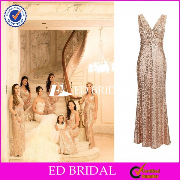 CE1164 Best Selling Sexy V-Neck Gold Sequins Sparkling Bridesmaid Dresses Long