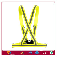 v-neck high visibility reflective safety cross elastic strap vest belt