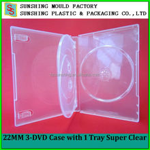 Durable Super clear plastic DVD Case 3 disc with 1 Tray