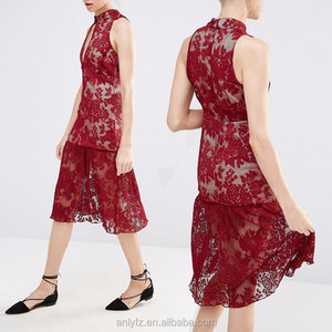 Wholesale Ladies New Model Dress &Ladies Fashion Rose Frill Hem Key Hole Lace Dresses