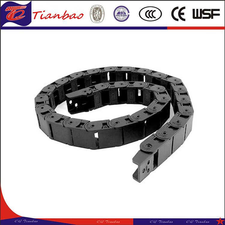 Black plastic drag chain cable carrier