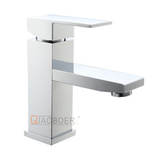 New design low price chrome brass hot cold water mixer tap square bathroom sink faucet