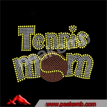 Wholesale hot fix tennis mom rhinestone transfer design for T-shirt