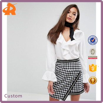 OEM plain white design your own long sleeve blouse,office wear chiffon blouse designs